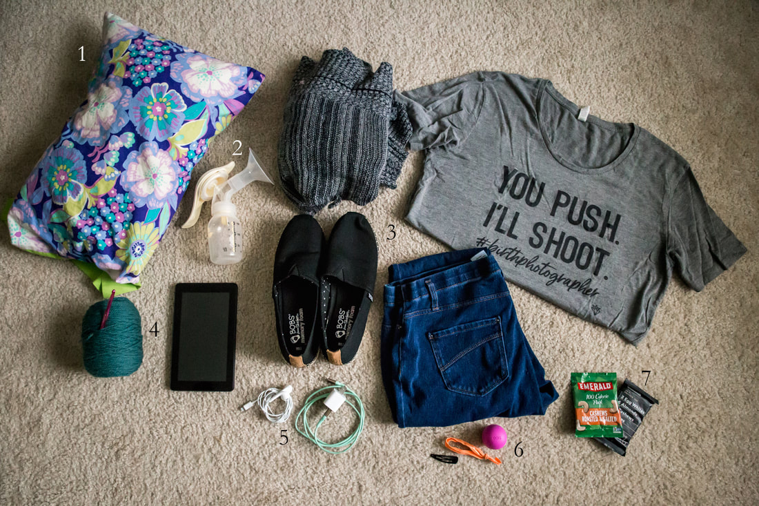 Picture of contents of a birth photographer's bag | Charleston, SC Birth Photographer | Brianne Sanders Photography