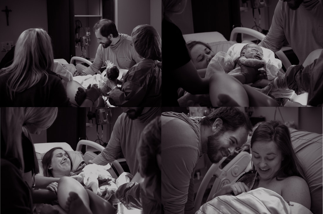 Black and white birth photos of parents meeting their new baby for the first time - lowcountry sc birth photographer